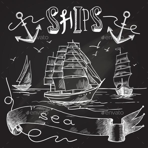 Ship Chalkboard Poster - Backgrounds Decorative