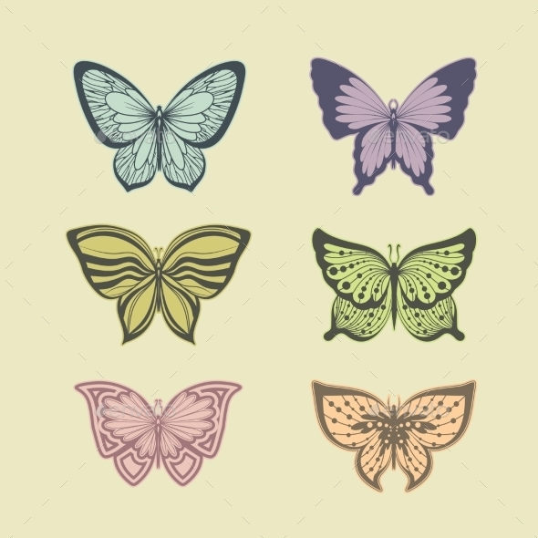Set of Butterflies - Animals Characters