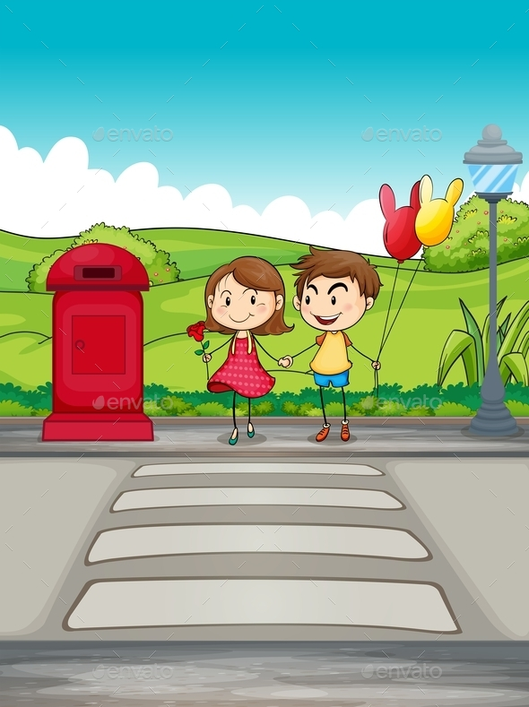 A Girl and a Boy Crossing the Street - People Characters