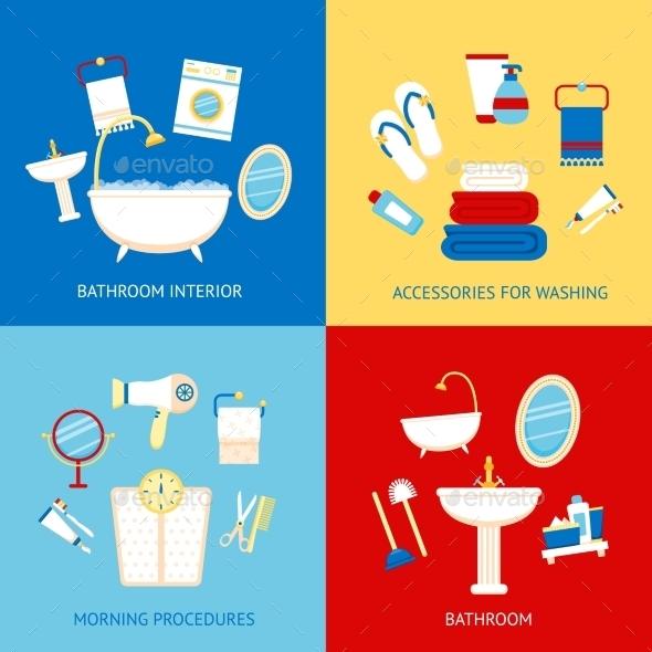 Bathroom Flat Set - Web Technology