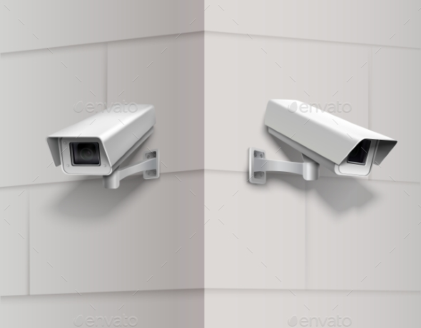 Surveillance Cameras on Wall - Technology Conceptual