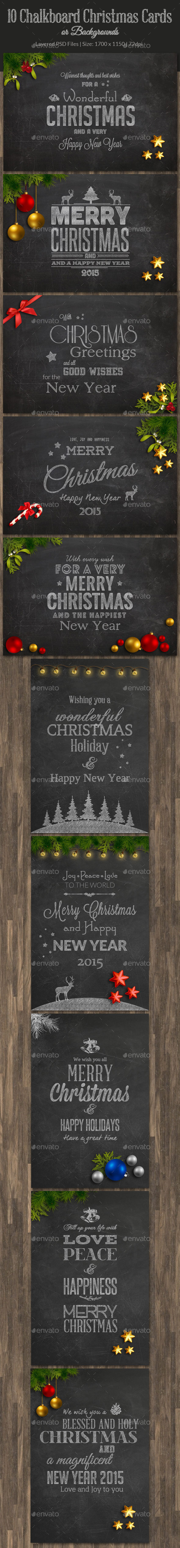 10 Christmas Chalkboard Cards - Backgrounds Graphics