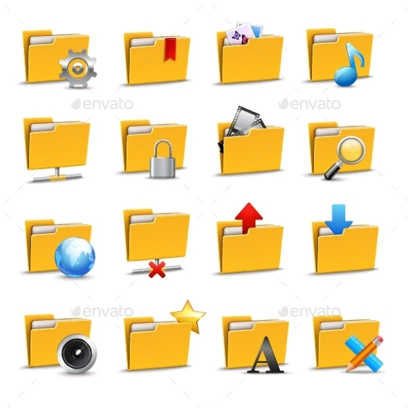 Folders Icons Set - Technology Conceptual