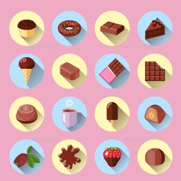 Chocolate Icons Flat  - Food Objects