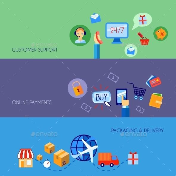 Shopping E-commerce Banner Set Flat - Web Elements Vectors