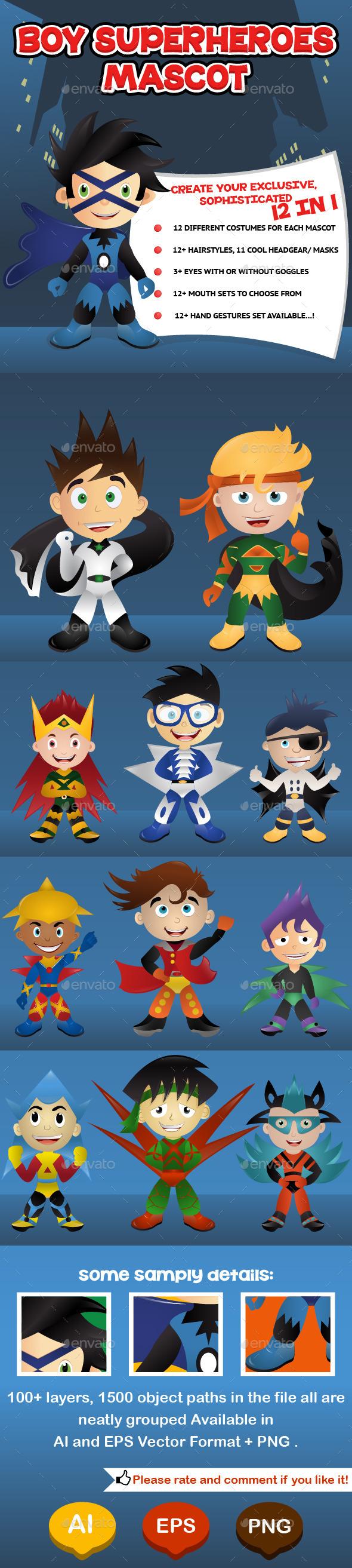 Boy Superheroes Mascot - Characters Vectors