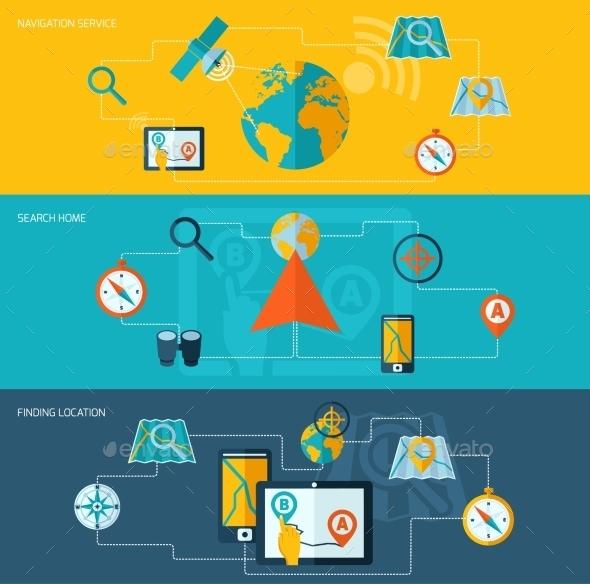 Navigation Banner Set - Technology Conceptual