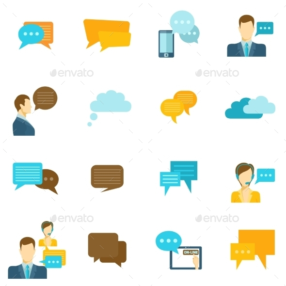 Chat Icons Flat - Communications Technology