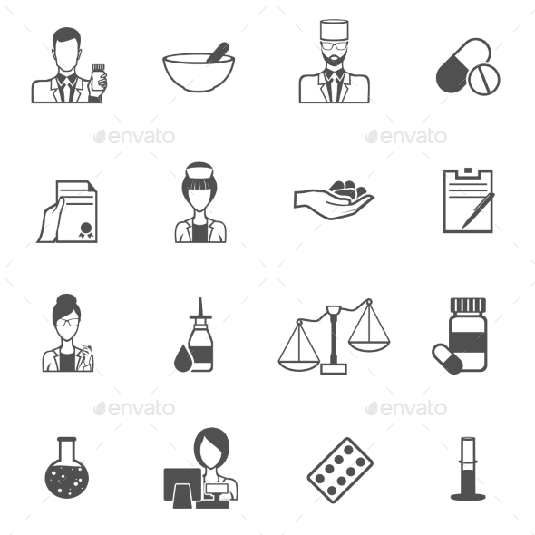 Pharmacist Icons Set - Miscellaneous Icons