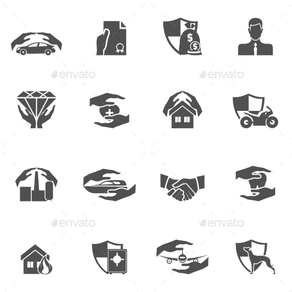 Insurance Icons Black - Web Icons