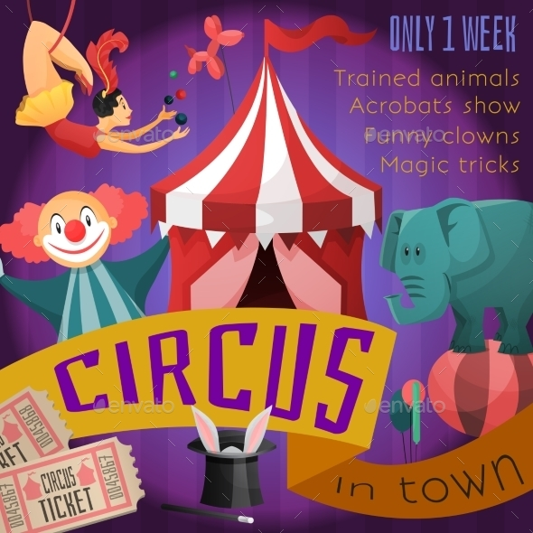 Circus Retro Poster - Backgrounds Decorative