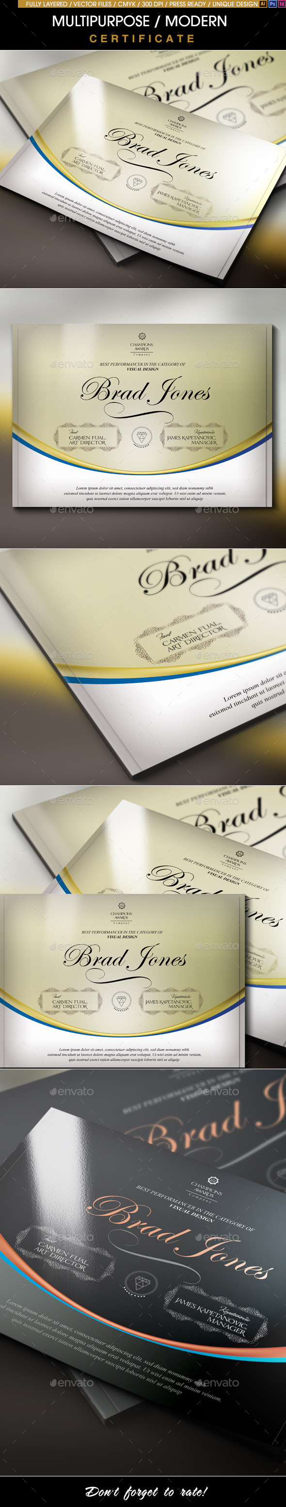 Multipurpose Modern Certificate v.6 (All Formats) - Certificates Stationery