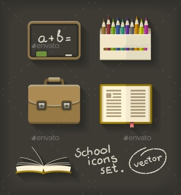 School Flat Icons Book Pencil Briefcase - Web Elements Vectors