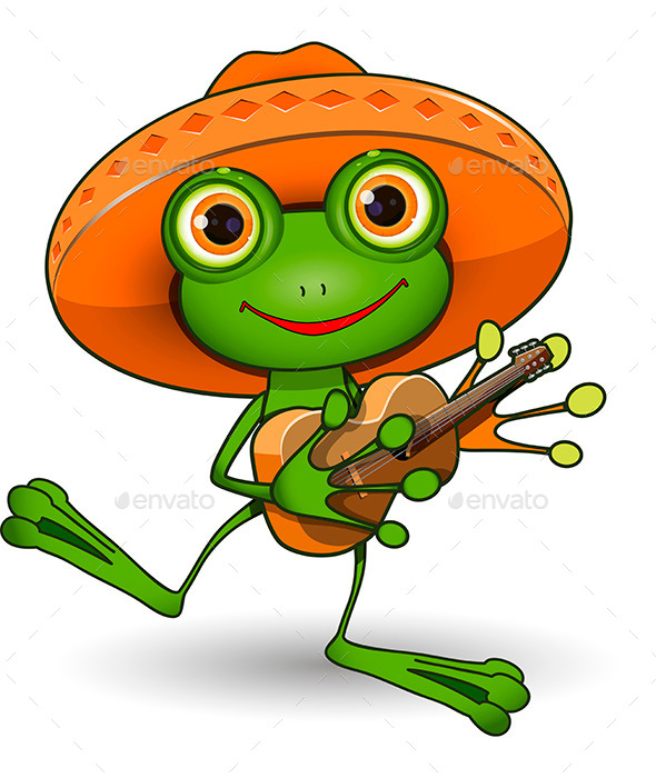 Frog with Guitar - Animals Characters