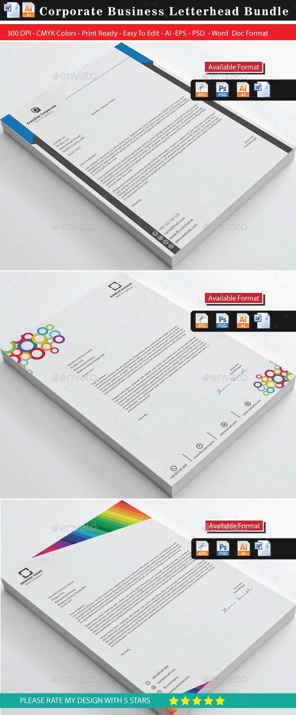 Advance Colorful Letterhead Bundles - Stationery Print Templates