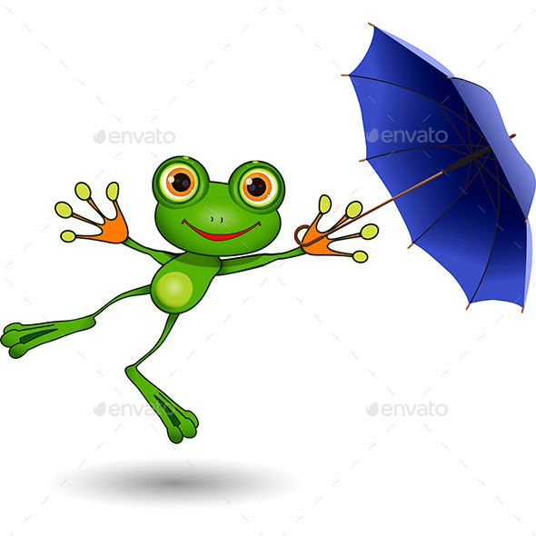 Frog with Umbrella - Animals Characters