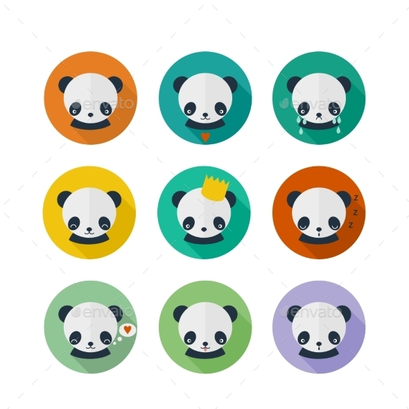 Panda Vector Icons Set in Flat Design - Animals Characters