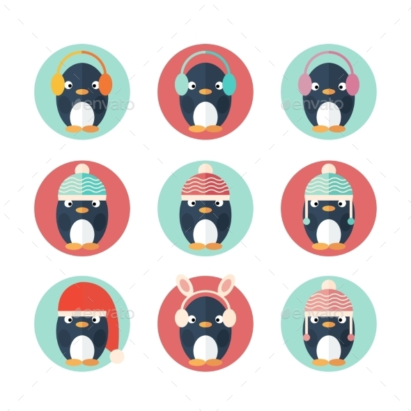 Penguins Icons Set in Flat Design - Miscellaneous Characters