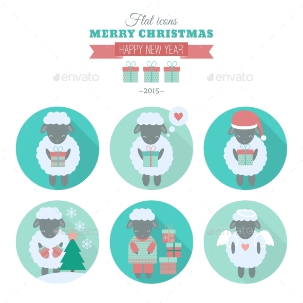 Holiday Icons Set with Sheep in Flat - Animals Characters