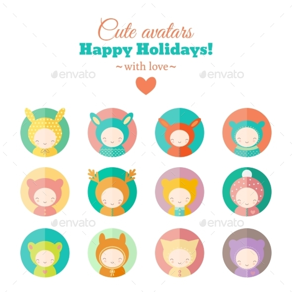 Vector Set of Holiday Carnival Avatars - People Characters