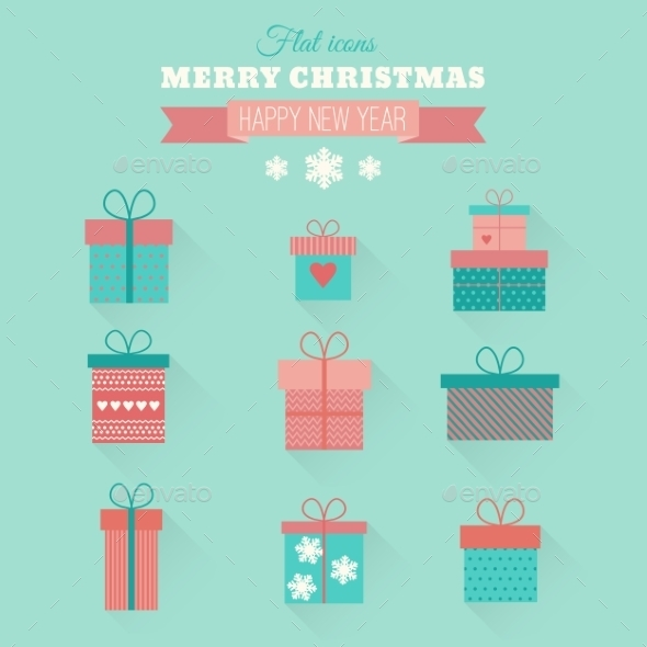 Vector Set Flat Gift Icons - Retail Commercial / Shopping