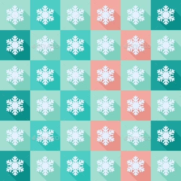 Seamless Pattern with Flat Snowflakes - Patterns Decorative