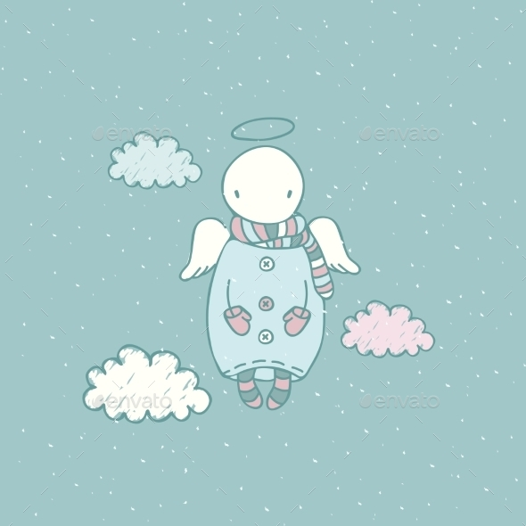 Cartoon Angel in the Sky - Christmas Seasons/Holidays
