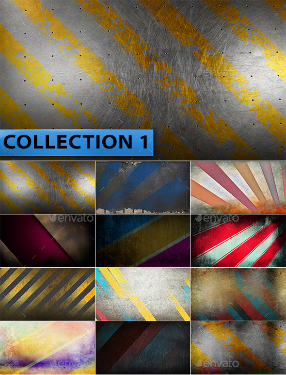 12 Striped Grunge Backgrounds Collection 1 - Abstract Backgrounds