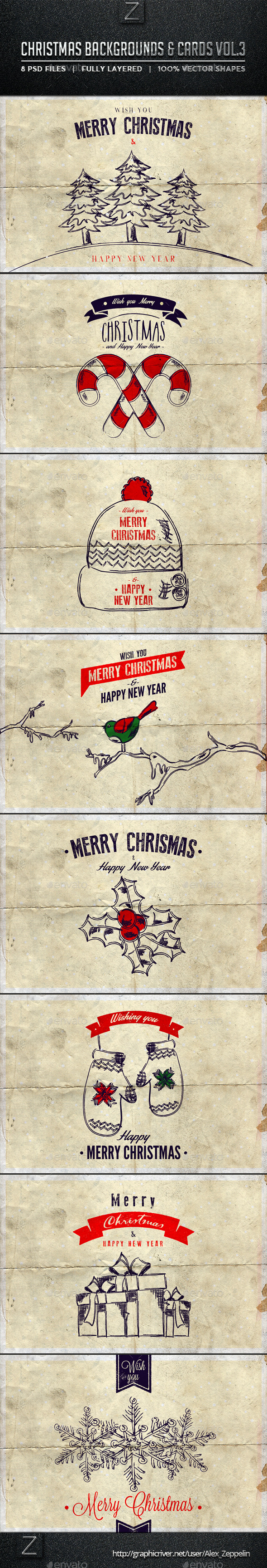 Christmas Backgrounds and Cards Vol.3 - Product Mock-Ups Graphics
