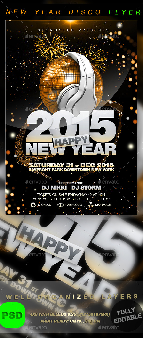 New Year Disco Flyer Template - Events Flyers