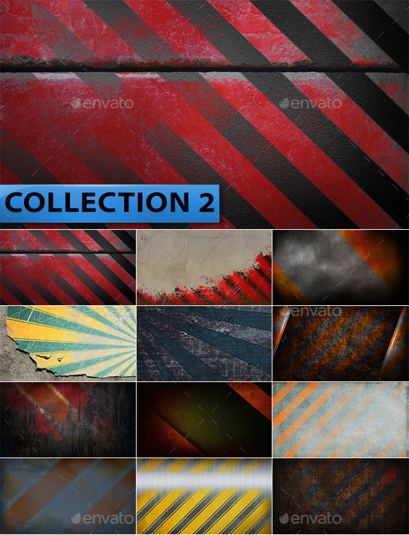 12 Striped Grunge Backgrounds Collection 2 - Abstract Backgrounds