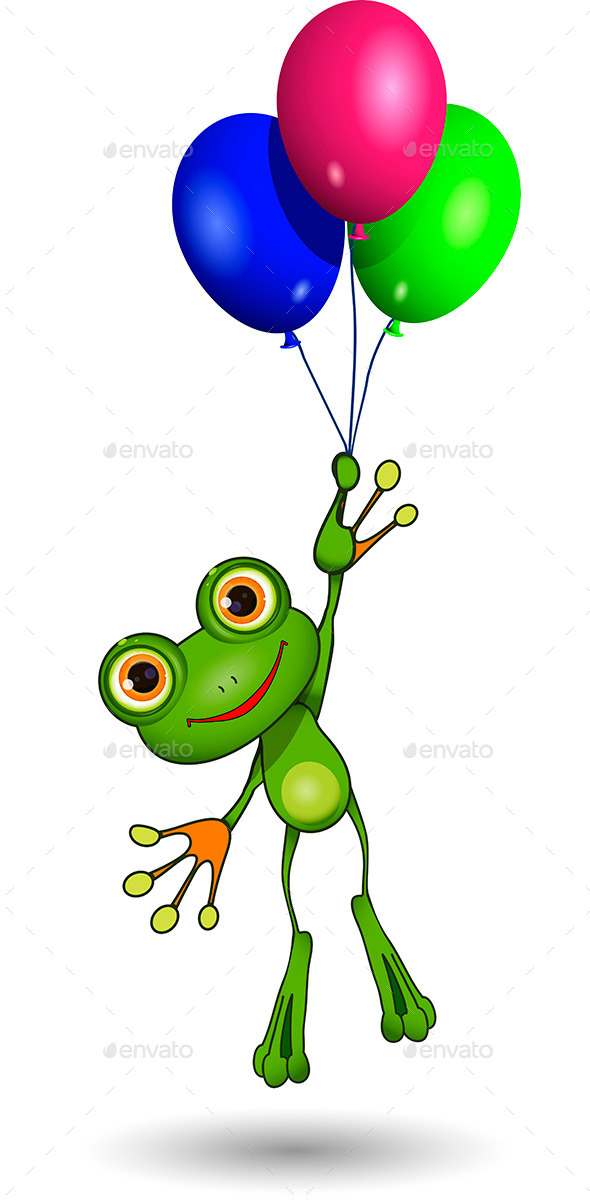 Frog on Balloons - Animals Characters