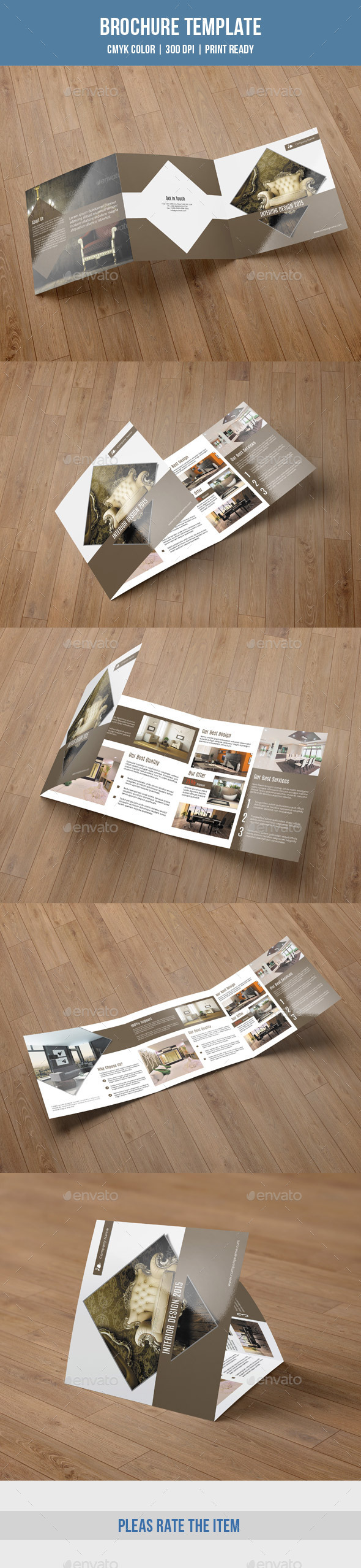 Square Trifold For Interior Design-V49 - Brochures Print Templates