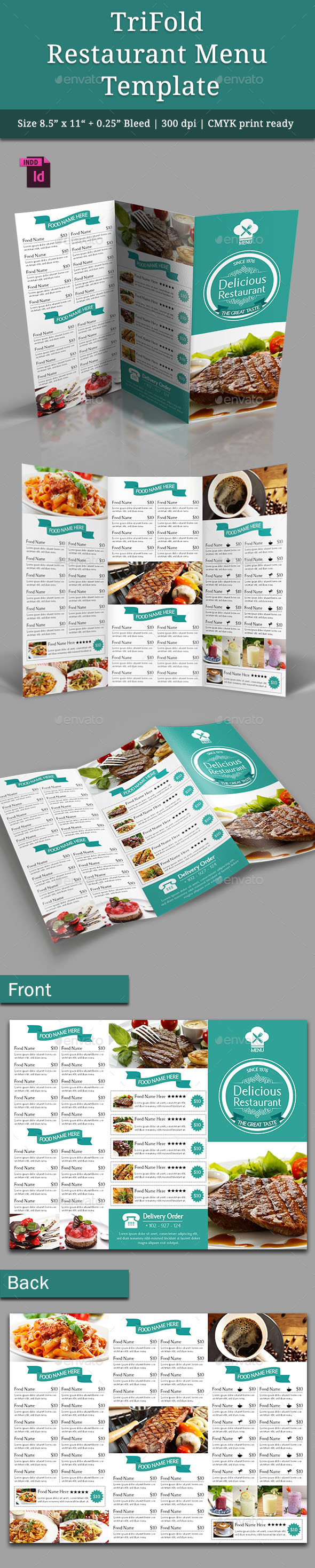 TriFold Restaurant Menu Template Vol. 4 - Food Menus Print Templates