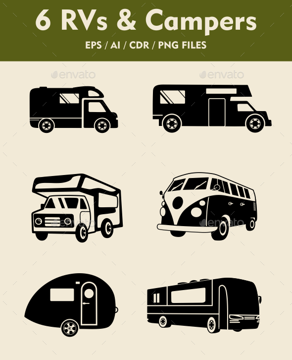 6 RV Camper Silhouettes - Man-made Objects Objects
