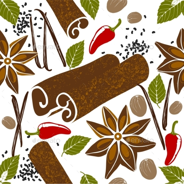 Pattern with Spices - Food Objects