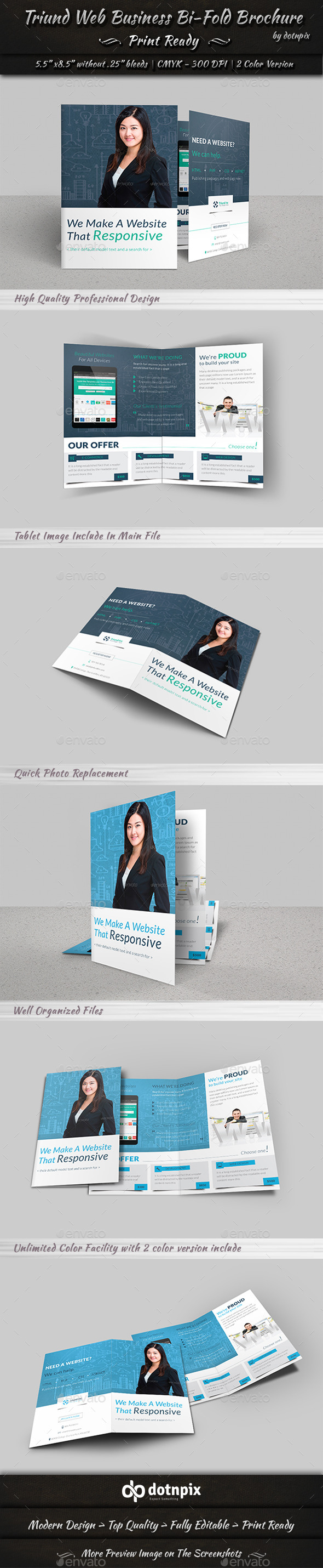 Triund Web Business Bi-Fold Brochure - Corporate Brochures