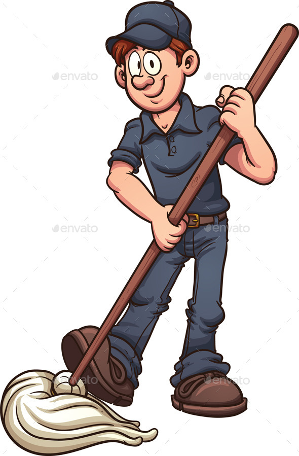 Cartoon Janitor - Services Commercial / Shopping