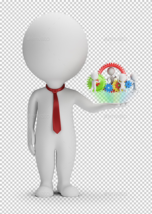 3D Small People - Manager and His Team - Characters 3D Renders