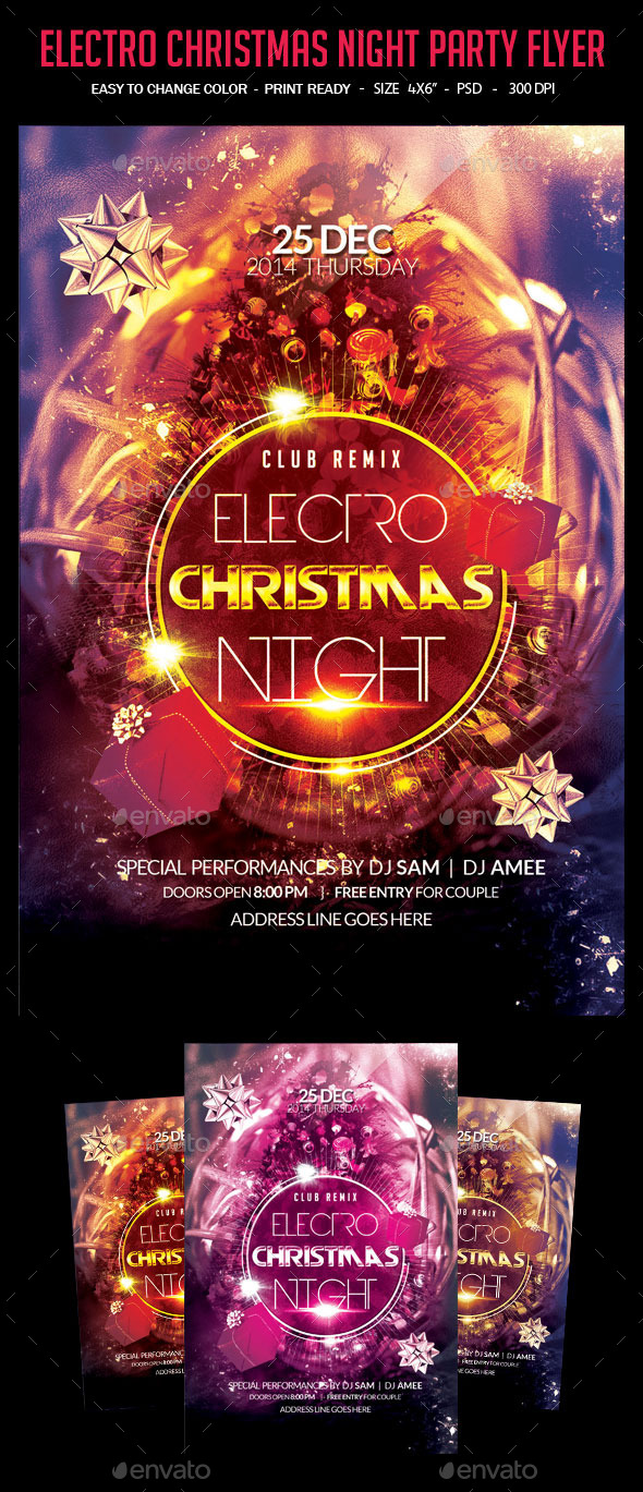 Electro Christmas Night Party Flyer - Clubs & Parties Events