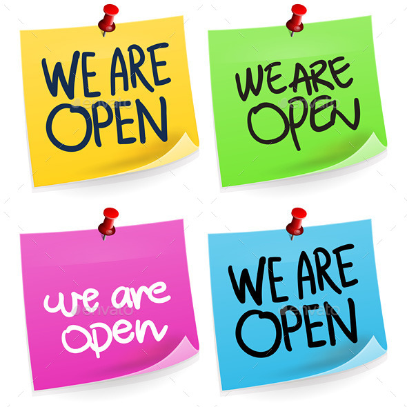 We Are Open Sticky Note - Commercial / Shopping Conceptual