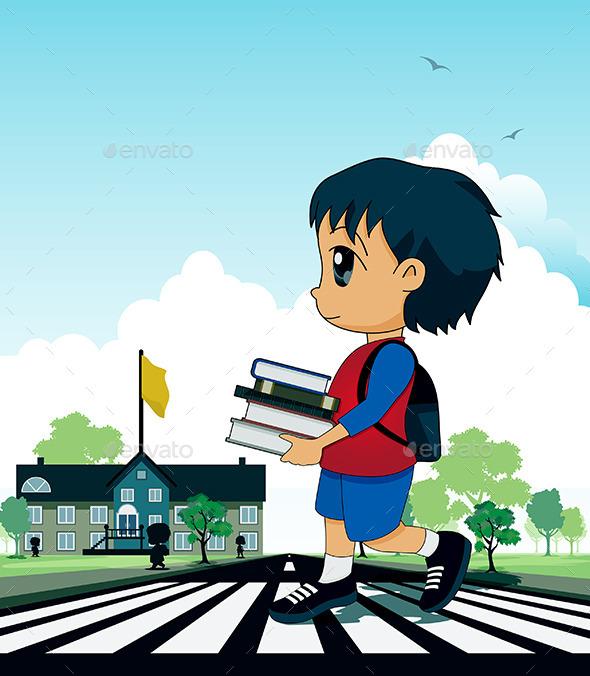 Children to School - People Characters