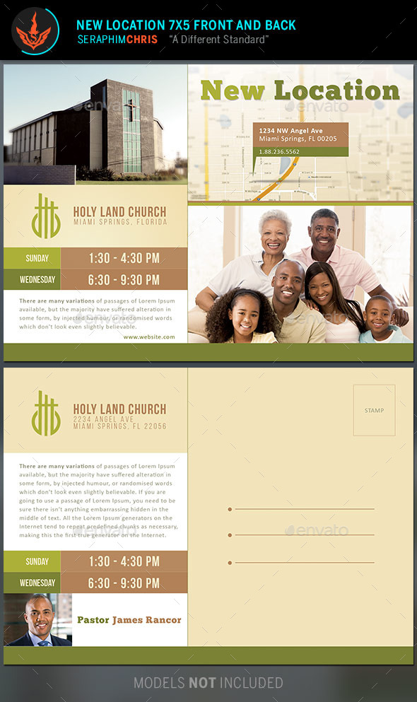 new location church flyer and mailer template