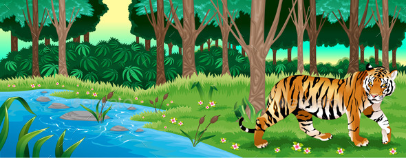 Green Forest with a Tiger - Animals Characters