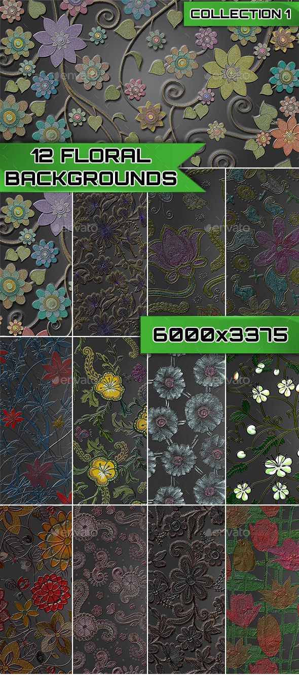 12 Floral Backgrounds Collection 1 - Patterns Backgrounds