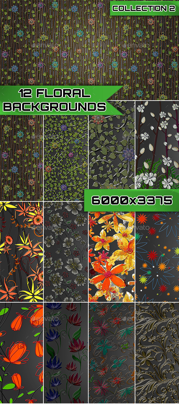 12 Floral Backgrounds Collection 2 - Backgrounds Graphics