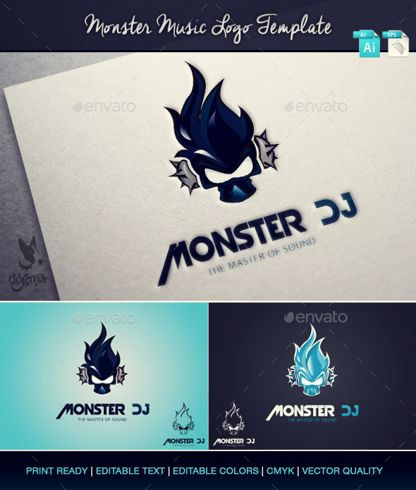 Music Logo Template: Monster Dj - Symbols Logo Templates