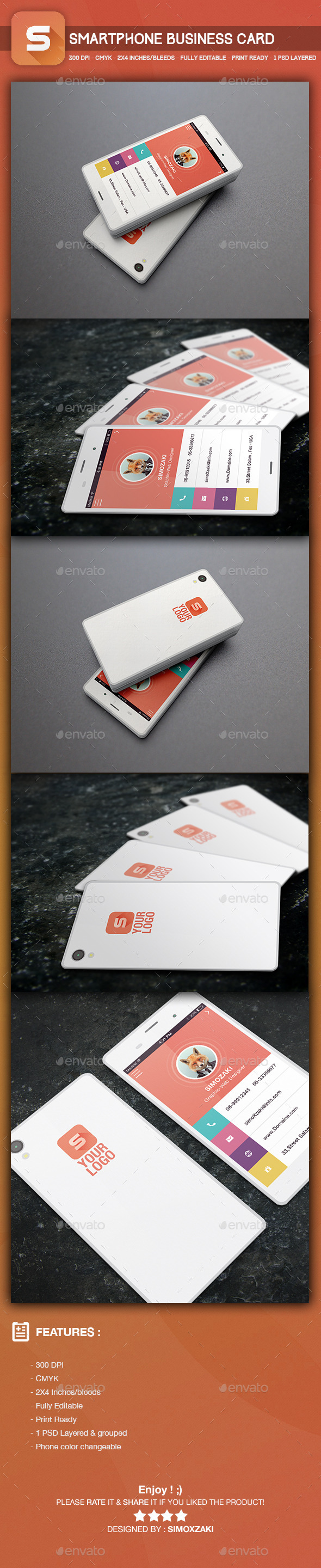 Smartphone Business Card template - Business Cards Print Templates