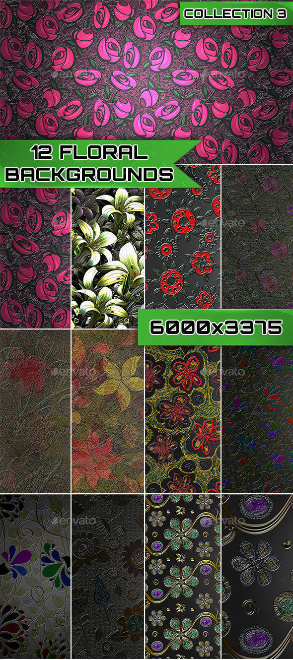 12 Floral Backgrounds Collection 3 - Backgrounds Graphics