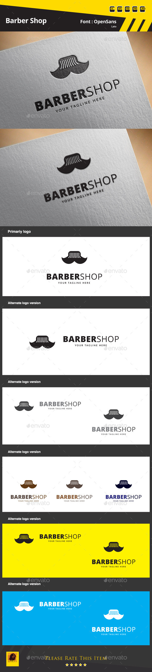 Barber Shop Logo Template - Symbols Logo Templates